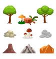 cartoon nature landscape elements set trees vector image vector image