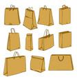 cartoon set brown paper shopping bags vector image vector image