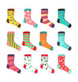 child socks icons colorful socks set vector image vector image