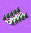 christmas city isometric vector image
