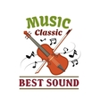 Classic music sign with violin bow and note vector image vector image
