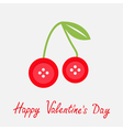 Cute cherriy buttons Flat design Valentines day vector image vector image
