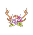 deer horns with flowers hand drawn floral vector image vector image