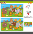 differences puzzle game with animal characters vector image vector image