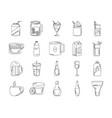 drinks beverage glass cups bottle alcoholic liquor vector image vector image