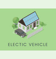 electric vehicle flat banner template vector image vector image