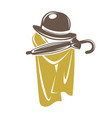 gentleman accessory set of brown hat with umbrella vector image vector image