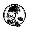 gym sign with a muscular man vector image vector image