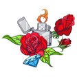 hand drawn vintage zippo with roses and diamond vector image