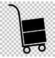 Hand truck sign Flat style black icon on vector image vector image
