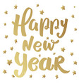 happy new year lettering phrase with stars design vector image