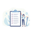 happy woman standing beside giant check list and vector image vector image