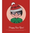 Holiday card with hipster Santa in red knitted hat vector image vector image