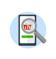 magnifier over a smartphone search for goods on vector image vector image