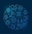 mobile app development round blue thin line vector image