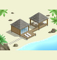 modern bungalow on coast vector image