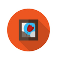 Picture with Flower flat icon over red vector image vector image