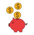 piggy bank money coins dollar vector image