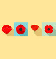 poppy flowers icon set flat style vector image