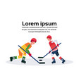 professional ice hockey players holding stick vector image vector image