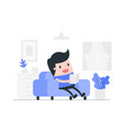 reading book and relaxing vector image vector image