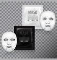 realistic facial sheet mask and sachet vector image vector image