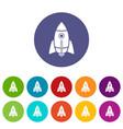 rocket design icons set color vector image vector image