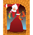 santa claus in the fireplace vector image vector image