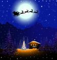 Santa sleigh in Christmas Night vector image vector image