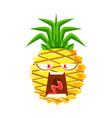 screaming pineapple emoticon cute cartoon emoji vector image