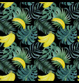 seamless pattern with bananas and tropical leaves vector image