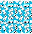 seamless pattern with domino on blue background vector image