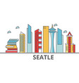 seattle city skyline buildings streets vector image vector image