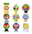 set cartoon fortune wheels equipment vector image