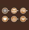set latte art white cup vector image
