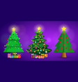 set of cute cartoon christmas fir trees on purple vector image