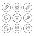 set round line icons hairdressing vector image