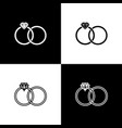set wedding rings icons isolated on black and vector image