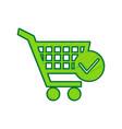 shopping cart with check mark sign lemon vector image vector image