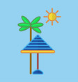 sun protecting umbrella at palm vector image vector image