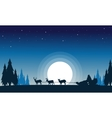 Train santa with reindeer landscape of silhouettes vector image vector image