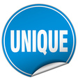 unique round blue sticker isolated on white vector image vector image