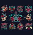 vintage tattoo studio colorful prints vector image vector image