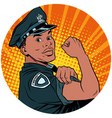 we can do it black policeman african american pop vector image vector image