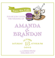 Wedding Vintage Invitation Card - Macaroon and Tea vector image vector image