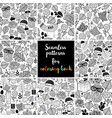 set of black and white seamless patterns for vector image