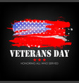 veterans day with usa flag background vector image