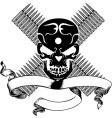 skull and bullet vintage emblem vector image