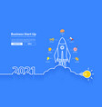 2021 new year rocket launch with creative light vector image vector image