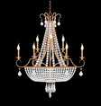 a chandelier with crystal pendants on the black vector image vector image